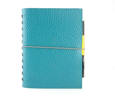 cover blue leather notebook and pen Stock Photo - 11020931