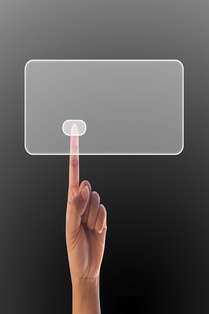 finger pressing on button touchscreen surface Stock Photo - 11020924