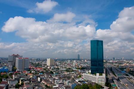 bird 's eye view: City Highway View in Bangkok ,Thailand