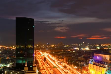 Bangkok Freeway to City Top View at bangkok photo