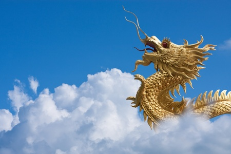 Gold dragon fly over blue sky and big white cloud  photo