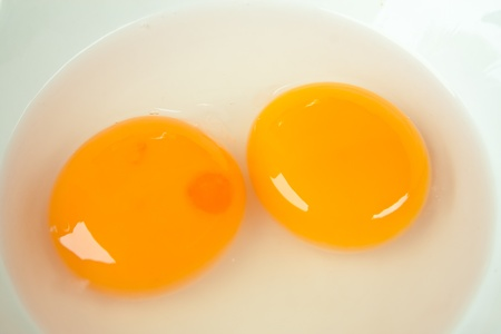 Broken egg in white bowl  photo