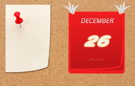 December calender of 2011 year on fiberboard  photo