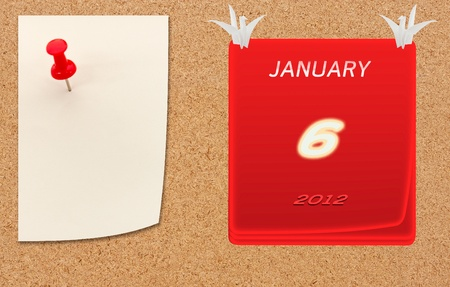 chipboard: january calender of 2012 year on fiberboard