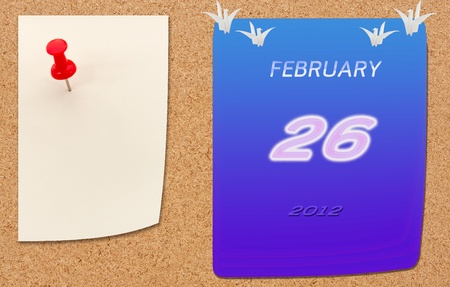 chipboard: february calender of 2012 year on fiberboard  Stock Photo