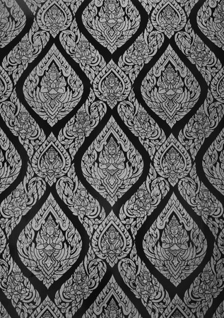 native thai painted pattern of textured wall in ancient buddhist temple Stock Photo