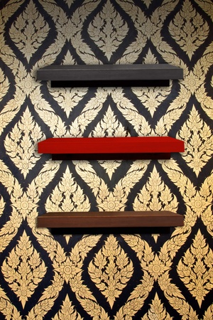 wooden shelf on thai style wall  l photo