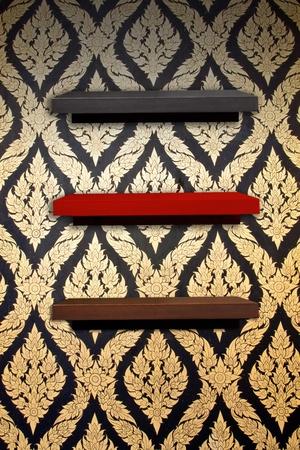 wooden shelf on thai style wall l Stock Photo - 11706999
