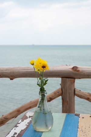 yellow flower over sea  photo
