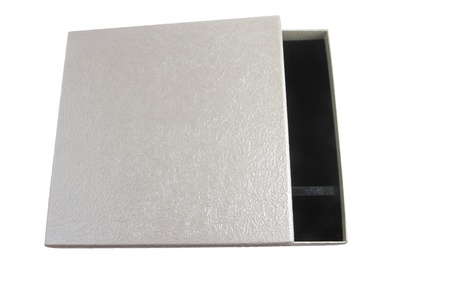opened leather silver case with black inter isolated Stock Photo - 11707059
