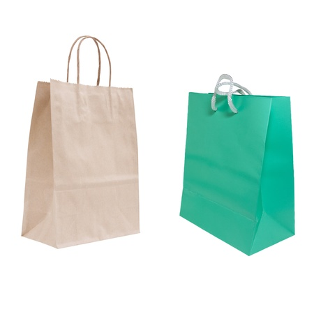 recyclable and green paper bag isolated  Stock Photo - 11707152