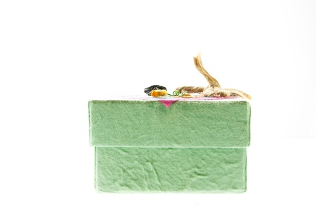 green mulberry paper gift box on white background  Stock Photo - 11801024