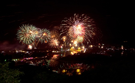 fireworks as seen from Samui,Thailand ,New year 2012  photo