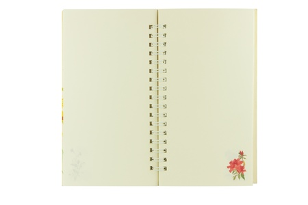 Open Notebook with rose flower decoration on white background isolate photo