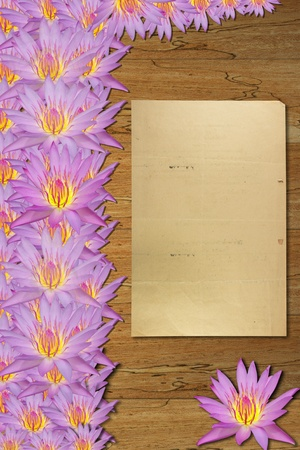 purple waterlily and  old paper on wood floor photo