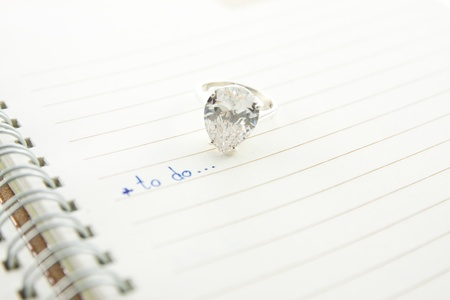 open notebook with wording to do and diamond ring...love concept Stock Photo - 12003073