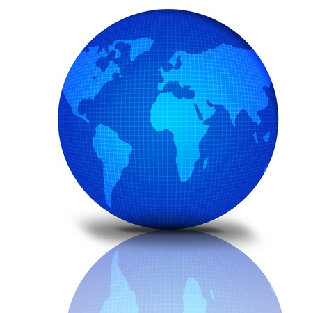 Glossy Blue Earth Globe with reflection