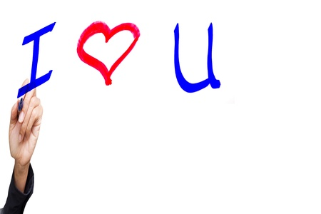 hand writing with I love you   word,isolated Stock Photo - 12298302
