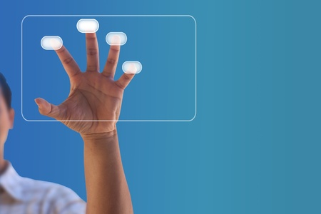 Man hand pressing touch screen button Stock Photo - 12298339
