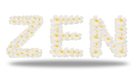 zen word created from flower isolated on white photo