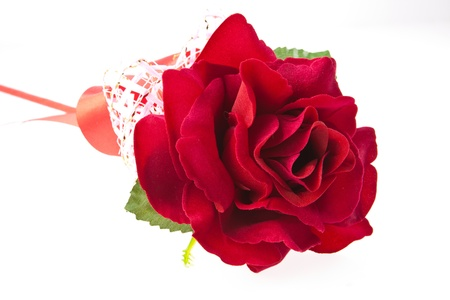 flowergirl: Perfect red rose artificial isolated on white