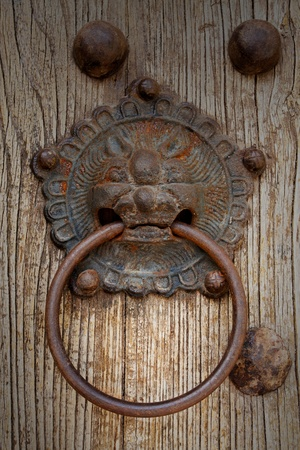 lion head doorknocker on old wood photo