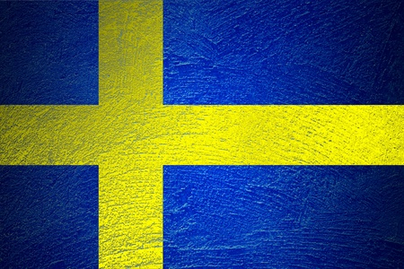 flag of Sweden on abstract cement wall photo