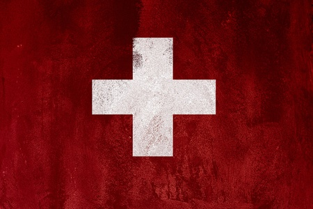 flag of switzerland  on abstract cement wall photo