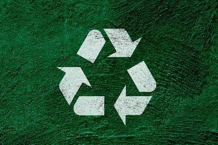 Ic�ne de recyclage symbole sur fond vert abstraite Banque d'images