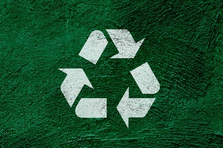 Icon recycle symbol on abstract green background photo