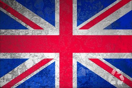 Icon recycle symbol on grunge United Kingdom or British or England flag background