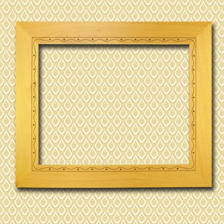 retro wooden frame on wall photo