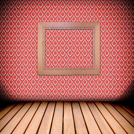 retro wooden frame on native Thai style wall and wood floor photo