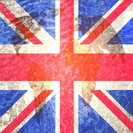 Union Jack or United Kingdom or British or England flag artwork on world map abstract grunge background photo