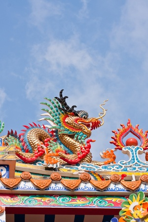 dragon statues in Chinese style on top of general temple roof  against blue sky