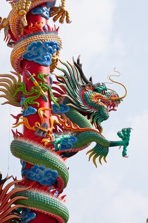 dragon Chinese statue on top of general temple roof  against blue sky photo