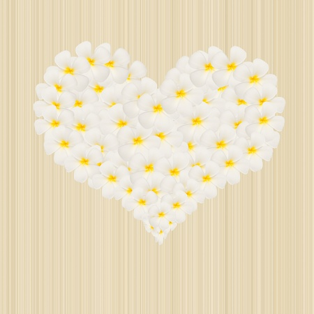 flower in heart shape on seamless wood background photo