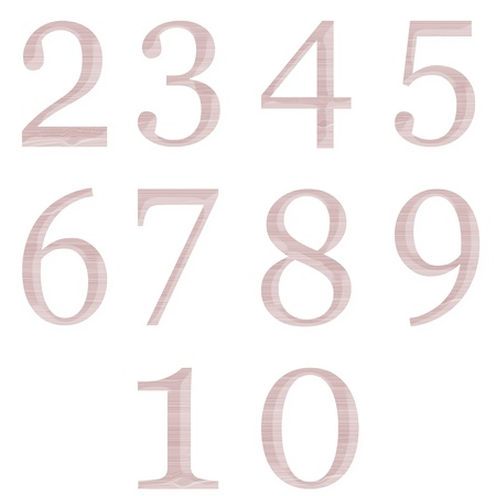 set of numbers made of wood isolated on white background photo