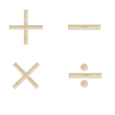 wooden math symbols isolated on white photo