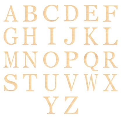set of of wooden alphabet isolated on white photo