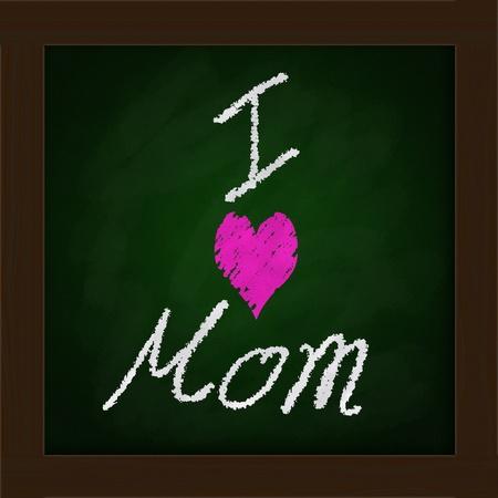 green blackboard  in classroom    Happy mother photo
