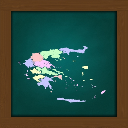 Greece atlas on high resolution green chalkboard photo