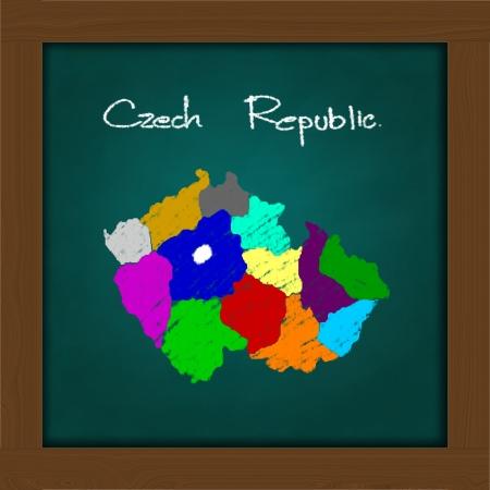 czech republic map and soccer ball  on high resolution green chalkboard Stock Photo - 13601326