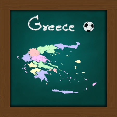 Greece map and soccer ball  on high resolution green chalkboard photo