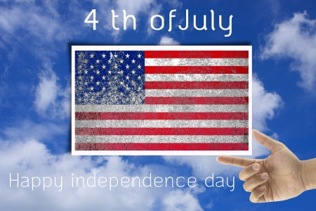 th: grunge United States flag of independence day in nature Stock Photo