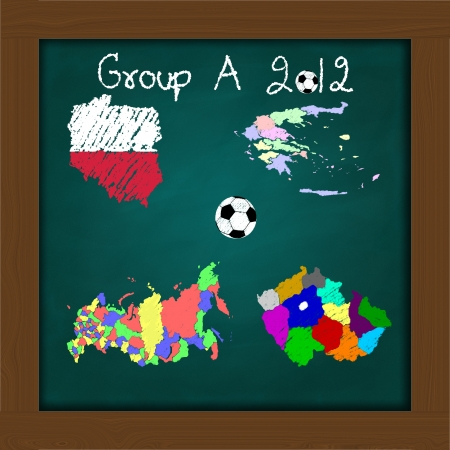 Hand drawing participating teams of Group A European football on high resolution green chalkboard photo
