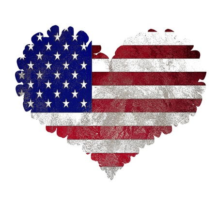 US flag heart isolated on white background photo