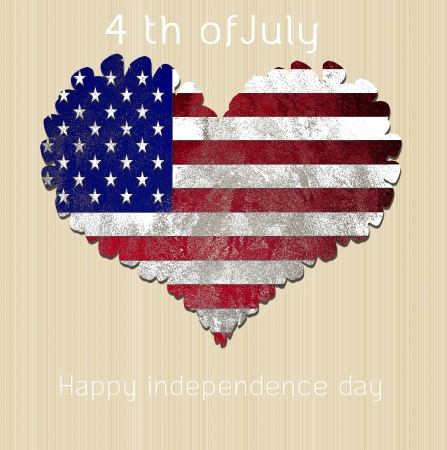 US flag heart o high resolution wood background Stock Photo - 13601356