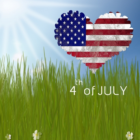 heart of US flag fly over dream land Stock Photo - 13601353