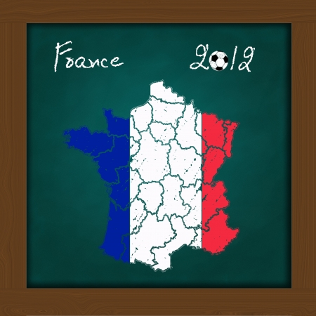 France  map flag and soccer ball  on high resolution green chalkboard photo